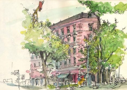 Das rosafarige Haus in der Florastrasse 84