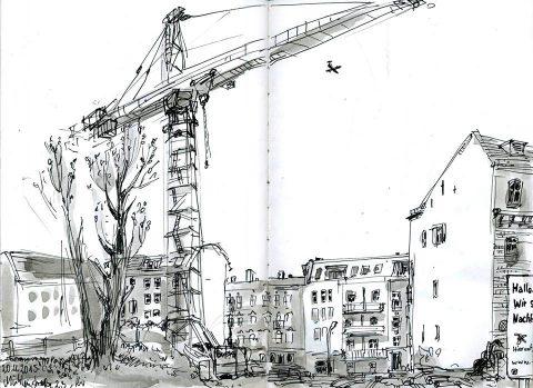 Baustelle haus comic  Baustellen in Pankow-Der Florakiez verändert sich - Christian Badel