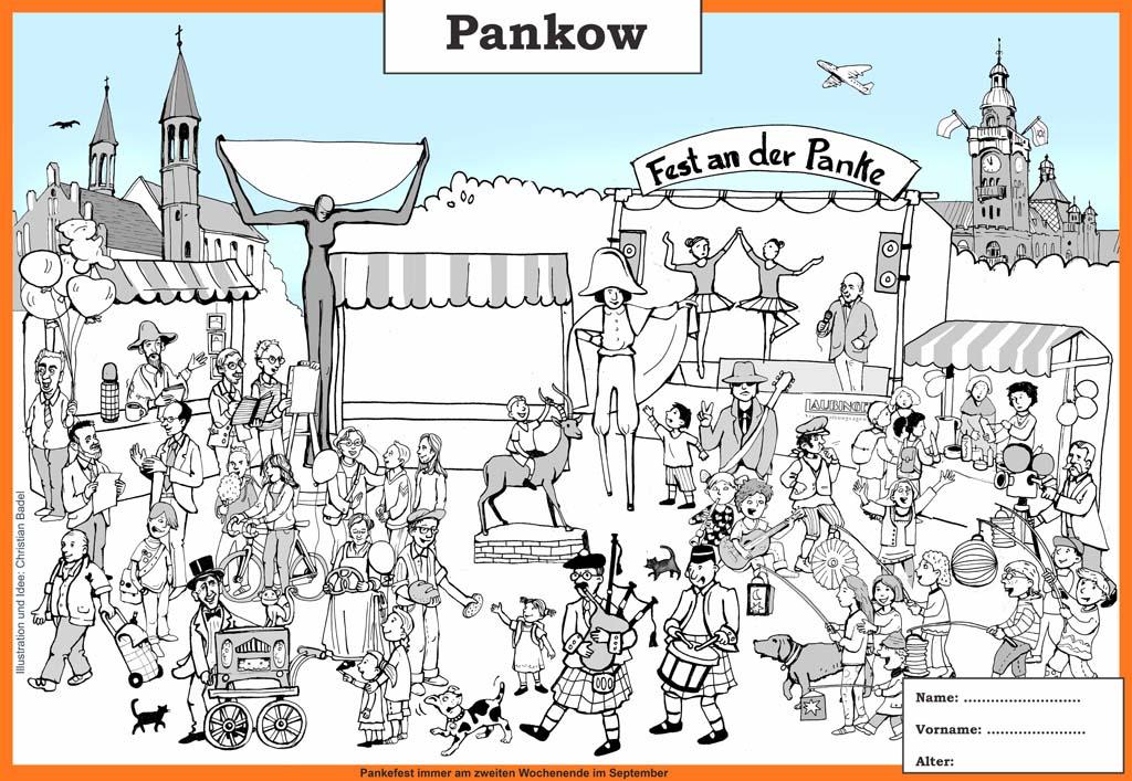 Wimmelbild vom Pankow mit dem Pankwer Rathaus, dem Anger und der Kirche zu den vier Evangelisten
